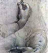 Портрет Женские руки и карикатурный набросок мужской головы