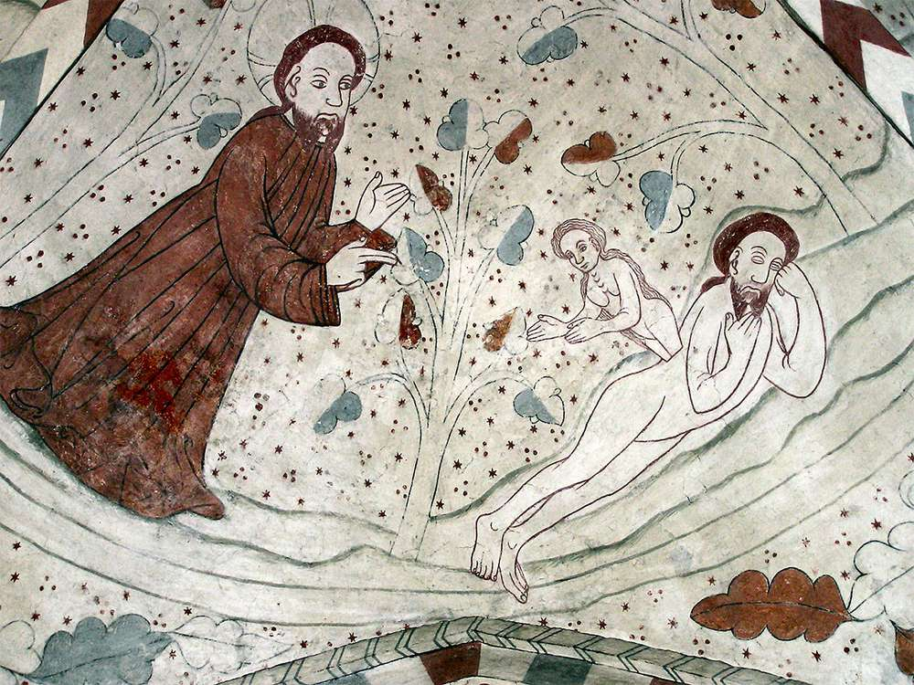 «Сотворение Евы из ребра Адама», фреска в шведской кирхе («The Creation of Eve from the Edge of Adam», a fresco in a Swedish church)