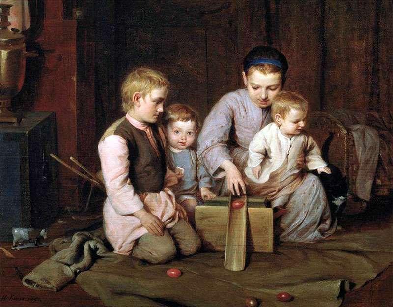 Дети, катающие пасхальные яйца