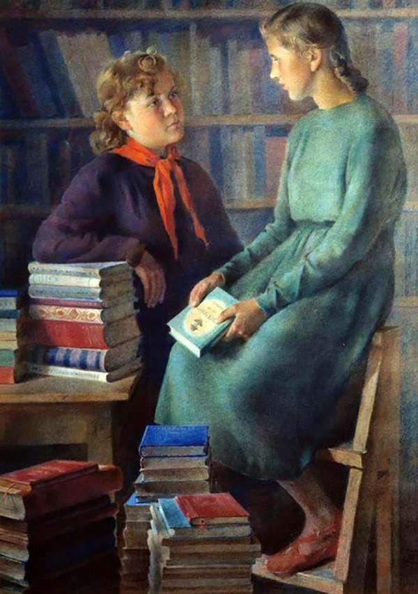 Винтаж, открытки дети в библиотеке
